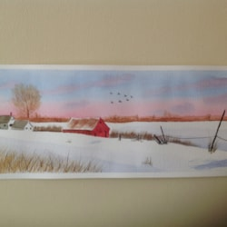 Simple snowy farm scene