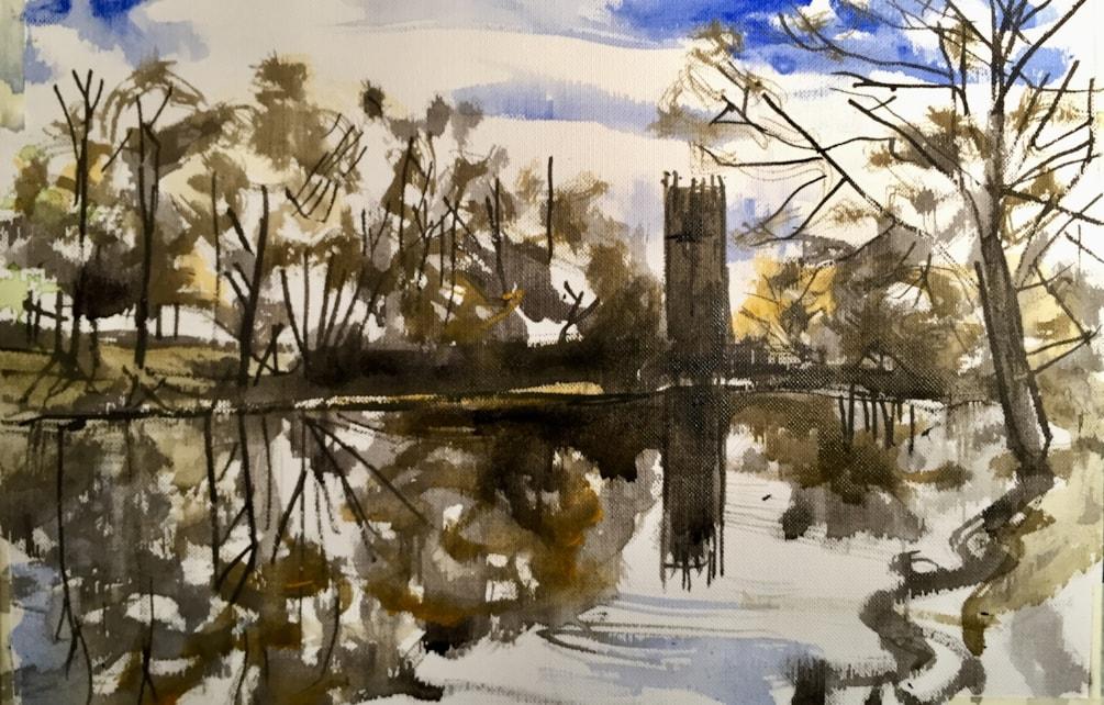 Gawsworth this afternoon. Acrylic on 30x20cm canvas