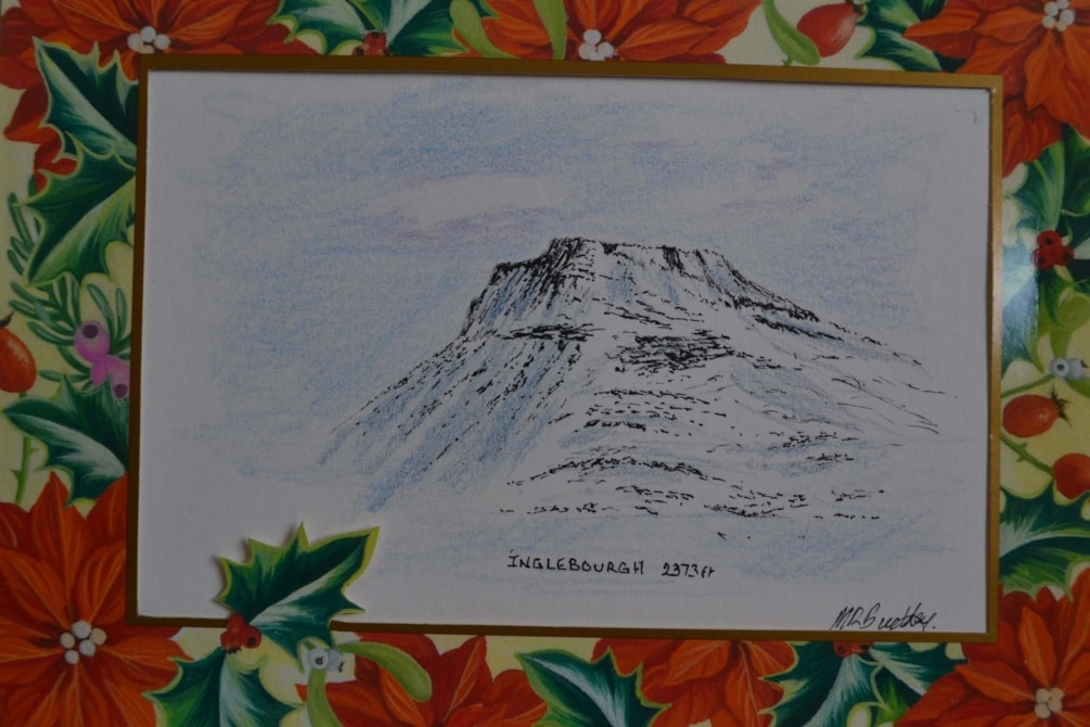 Inglebrough christmas card pen and ink