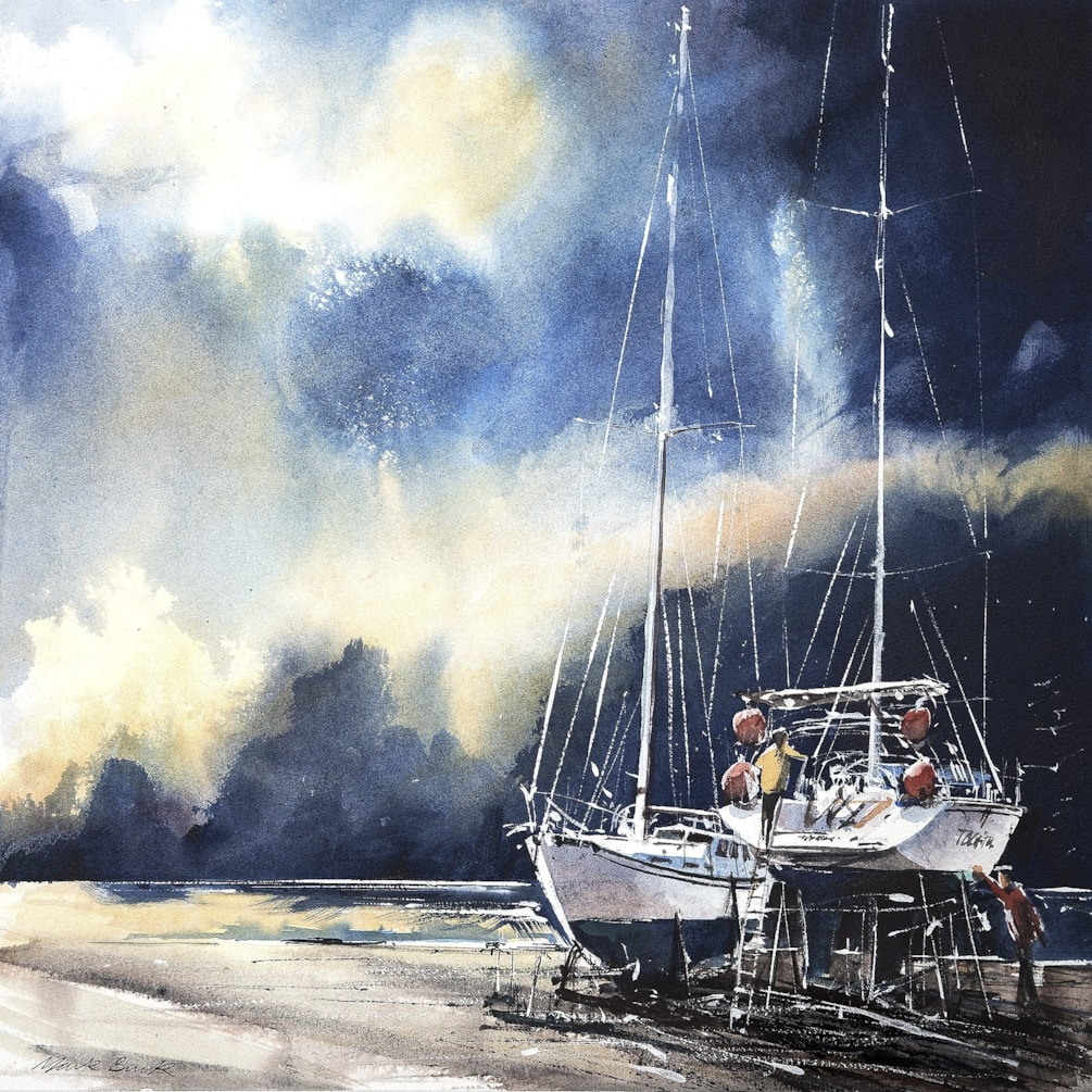 Two yachts on hard standing watercolour