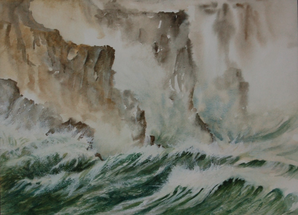 """""""Atlantic rollers on the west coast of Eire"""" in watercolour"""