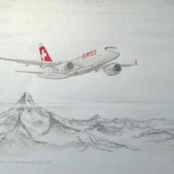 Bombardier C Series over the Swiss Alps