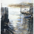 Bosham Quay, plein air watercolour