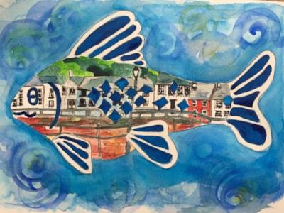 Maryport harbour in fish mirror