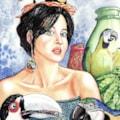 Parrots, toucans, girl