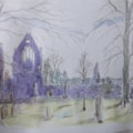 Dryburgh abbey - sketch with reed pen and watercolour wash
