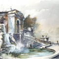 Hever Castle Loggia Fountain, watercolour