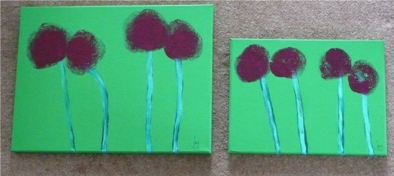 Both Abstract Allium Paintings