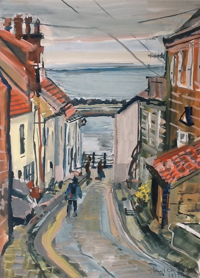 Staithes - street running down to the harbour, and up to the Cleveland Way.