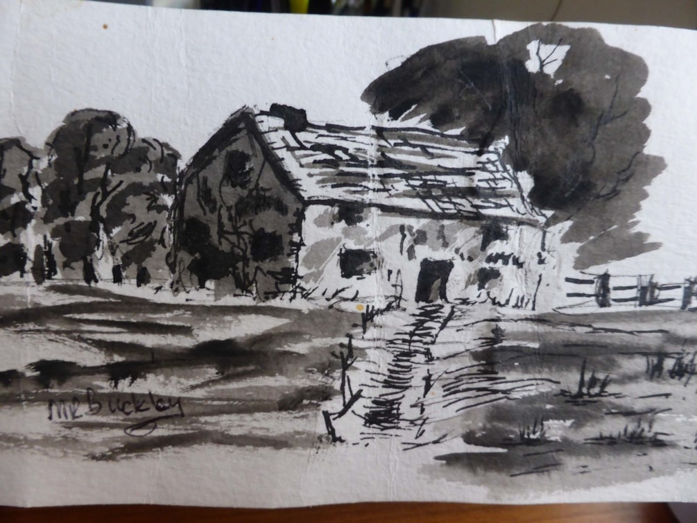 Empty now. Brush, matchstick and ink sketch