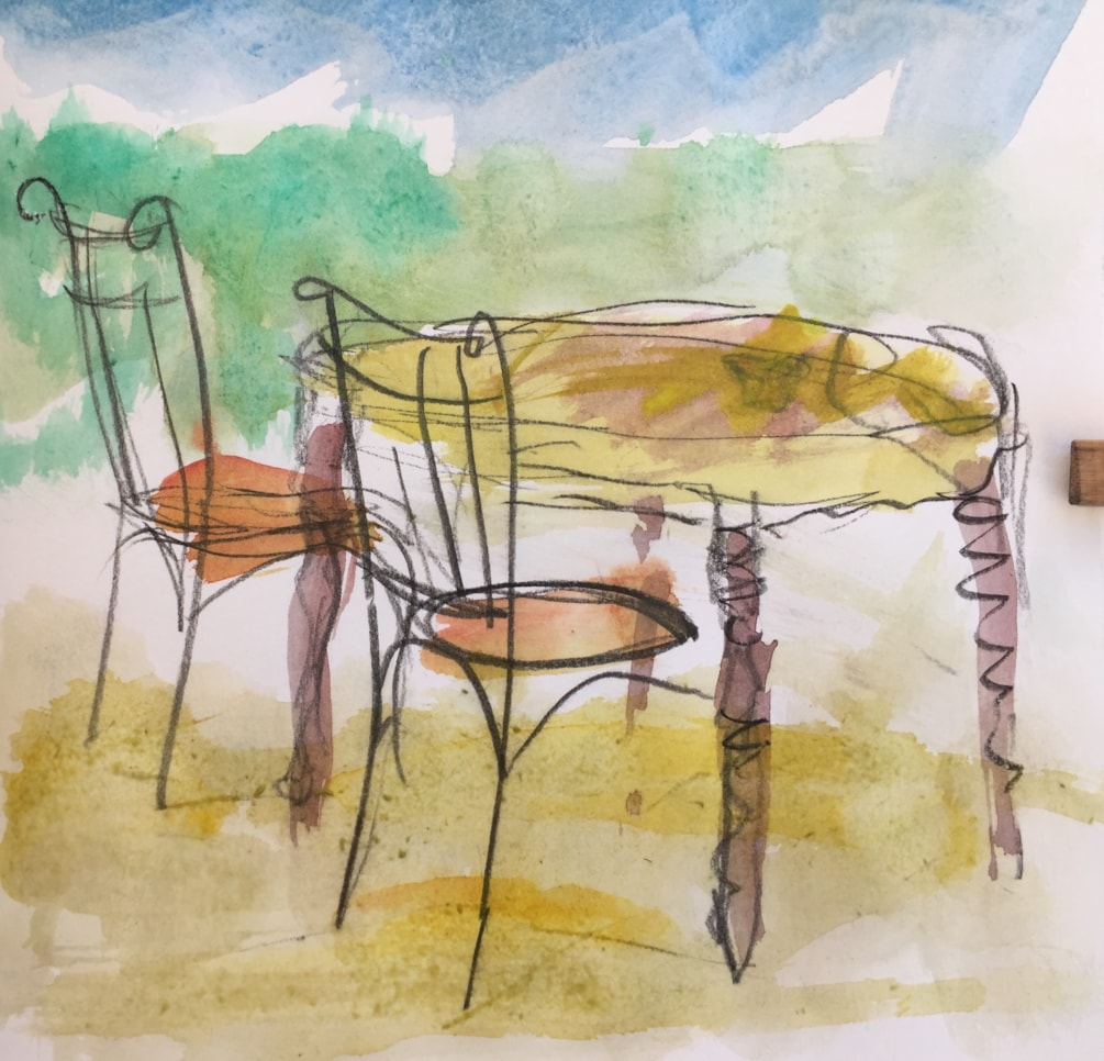 Table and chairs, Carozziere Sicily, water colour and conte pencil in A5 sketch book