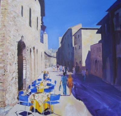 Busy street in San Gimignano