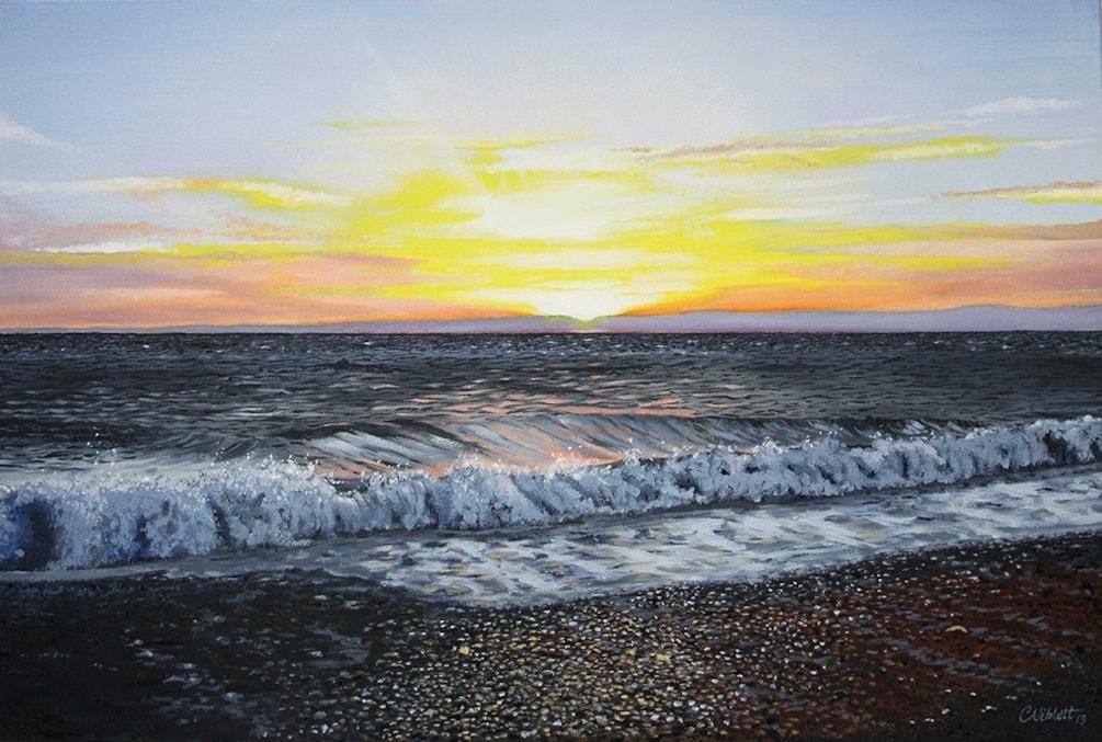 Aberystwyth sunset and crashing waves