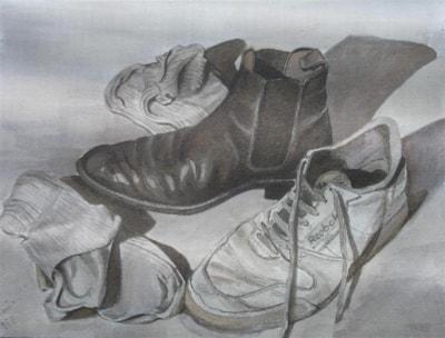 footwear in sepia