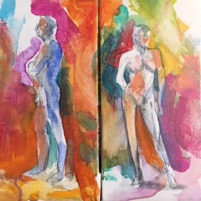 Man,Woman dyptych, both acrylic on 30x15 canvas