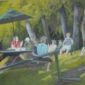 """Picnic on the grass - 21st century"" gouache"