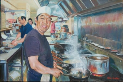 Steve in his China China Kitchen Oil, 36x24 ins