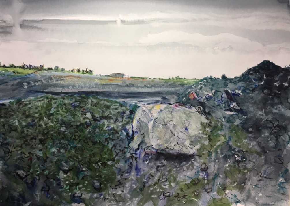 Large lump of shale in quarry near Caldon Mill, ink and stuff on A2 cartridge
