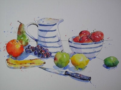 Blue Pottery and Nectarines - One Liner