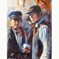 Victorian day on the Ffestiniog Railway watercolour 24 x 34 cm