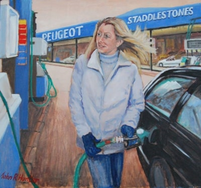 Leisha at the Pumps,Oil 24insx20ins
