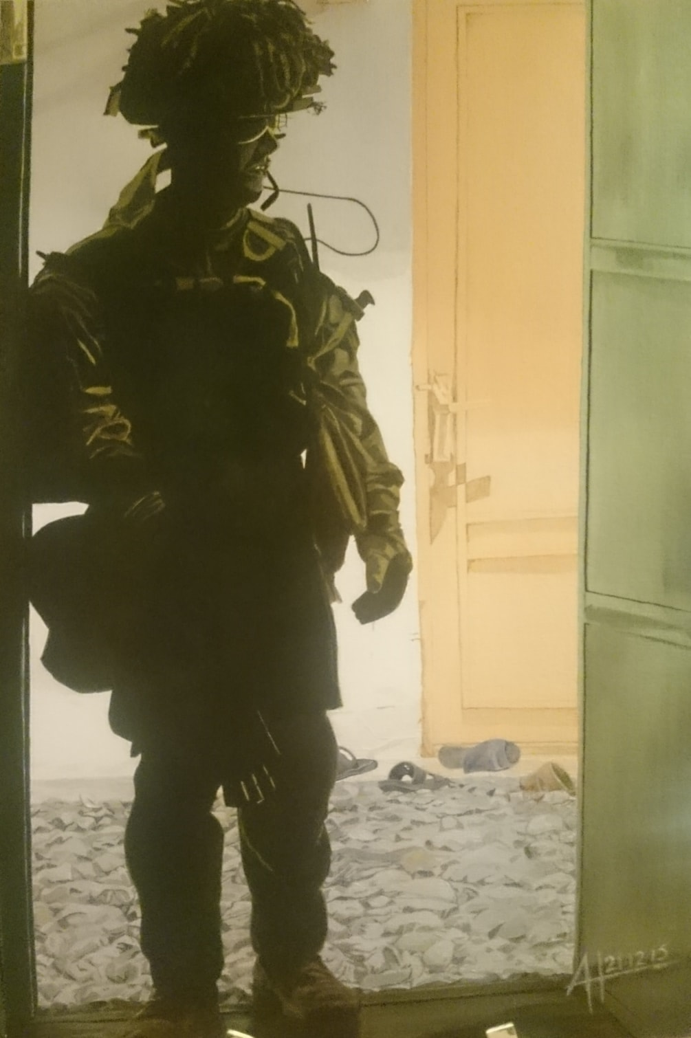 Gurkha Silhouetted in doorway.