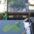 """Pochade Box with 8"""" x 6"""" painting 'my back garden'"""
