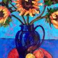 'Sunflowers in Blue Jug'