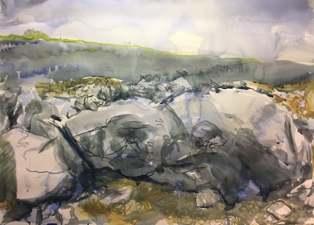 Slate boulders, near Caldon Mill. Ink on A2 cartridge
