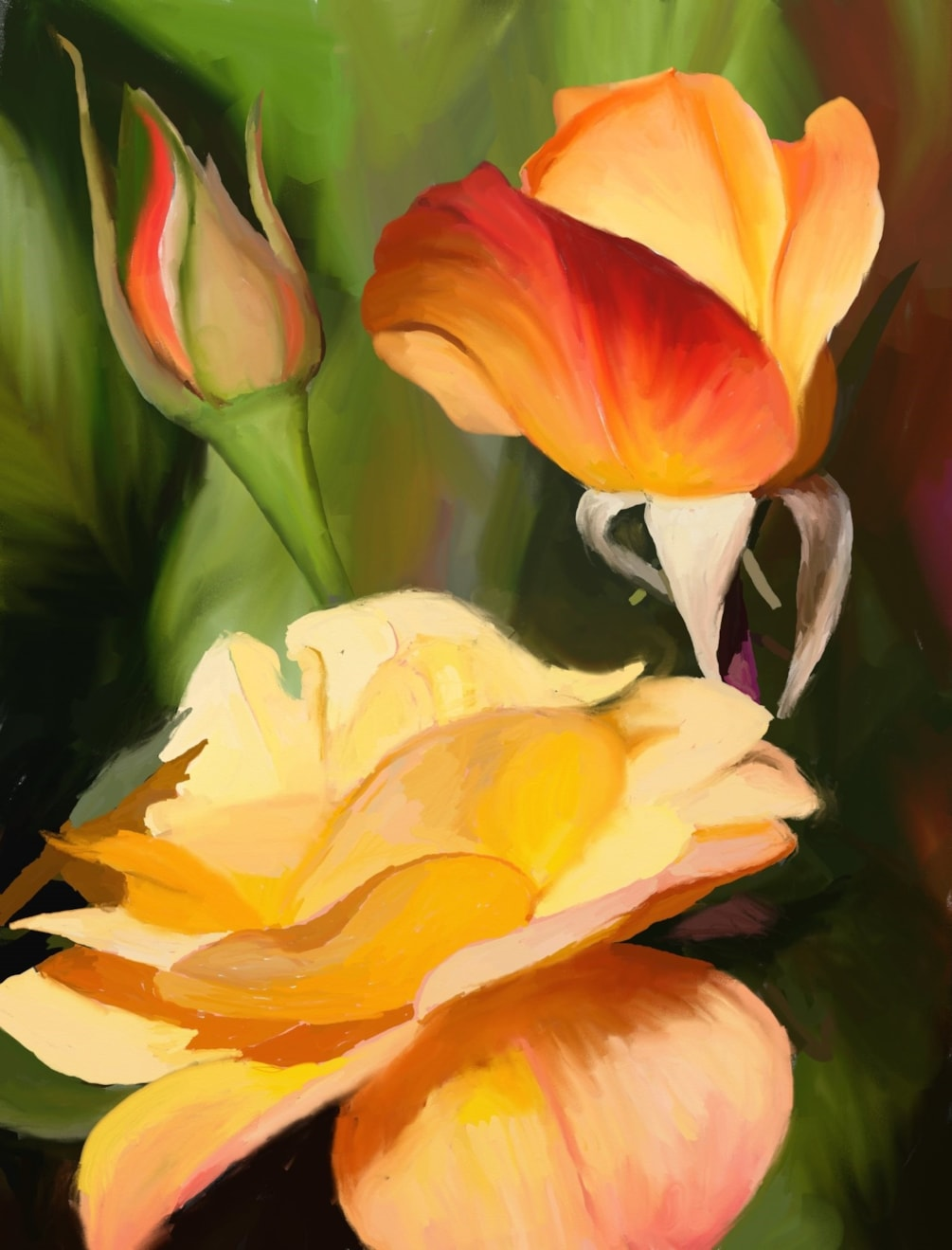 """Peaches & Cream Roses. Orig size 3155x2400 at 300ppi.res. (appx.8x11"""") ArtRage Oils."""