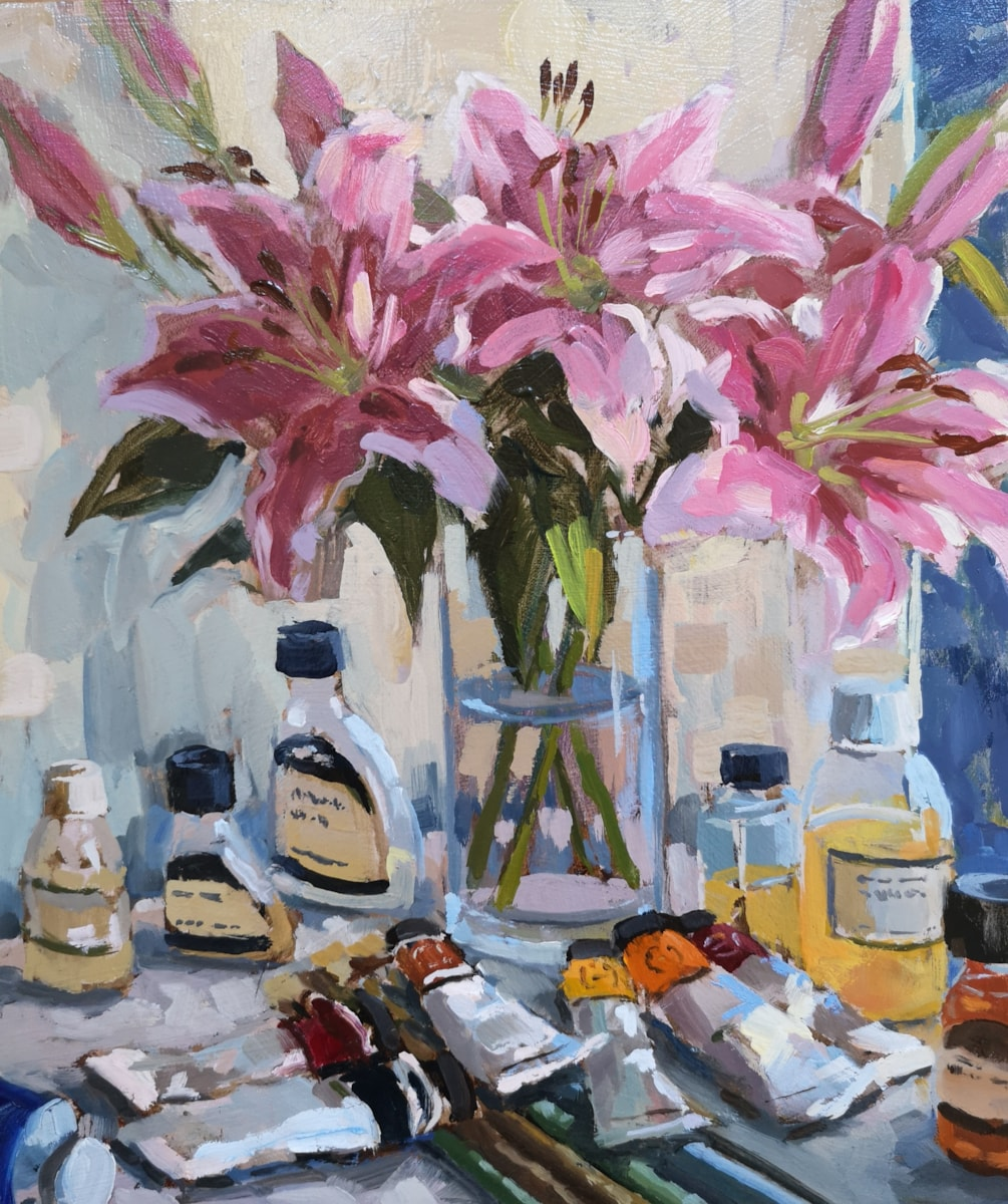 Pink Lilies in the Studio