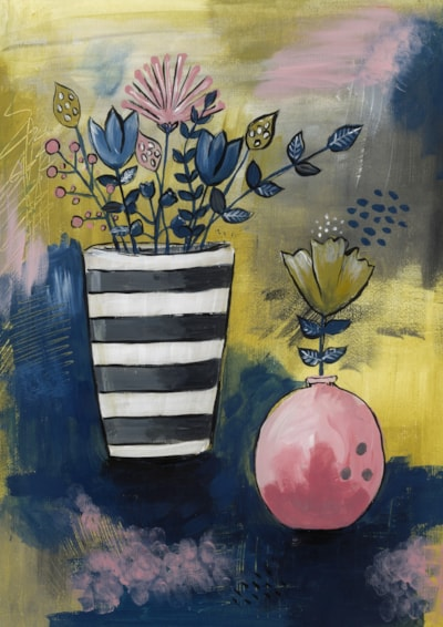 Vase of flowers with pink pot