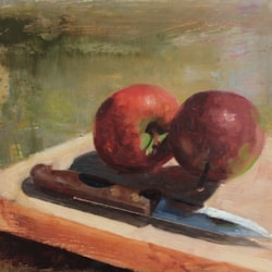 Apples and knife