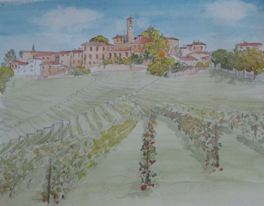 After the grape harvest, Piedmont, Italy, preliminary sketch.