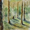 """Sunlit Pines. watercolour. 6.5x5"""" En plien air"""