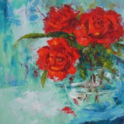 Valentine Roses, Red Roses Still Life palette knife paintings.