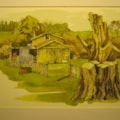 """From a back road "" out of Feilding - it is spelled  correctly by the way. This is the final completed effort.  This is line and wash material as are a number of others I have taken from this site.. There is an old cottage which is now used for"