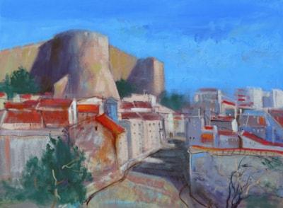Denia Castle Rampart - Plein air oil sketch.