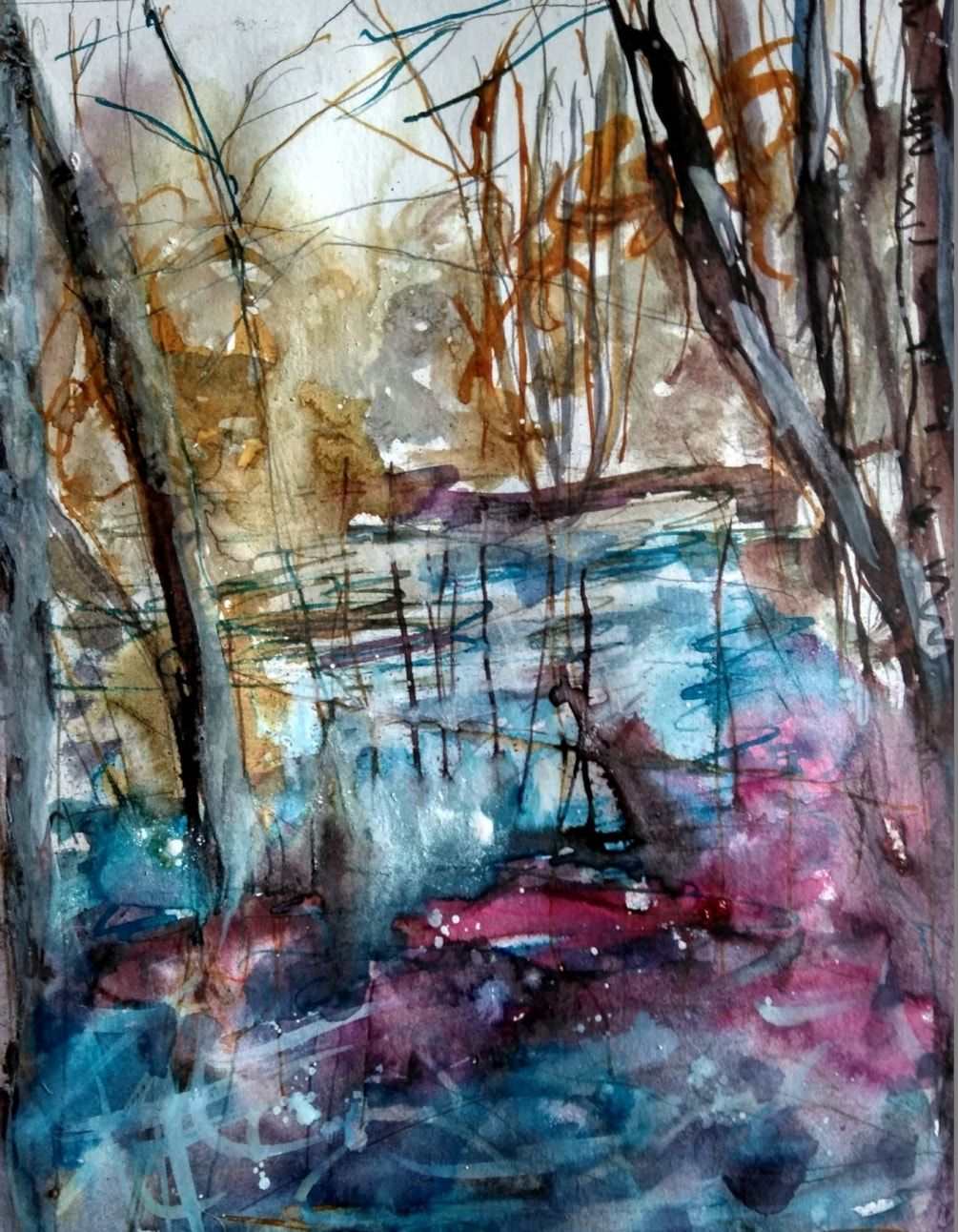 The pond in the woods.