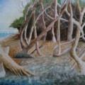 Leaning trees on Bembridge Beach