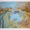 frosty morning on canal,painting
