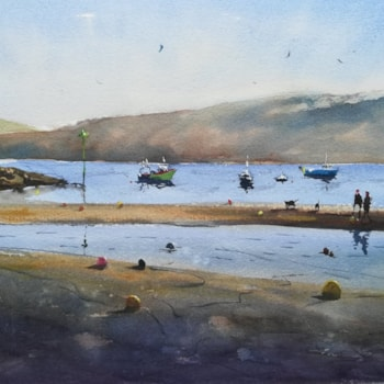 low tide on new quay beach wc - 11x15