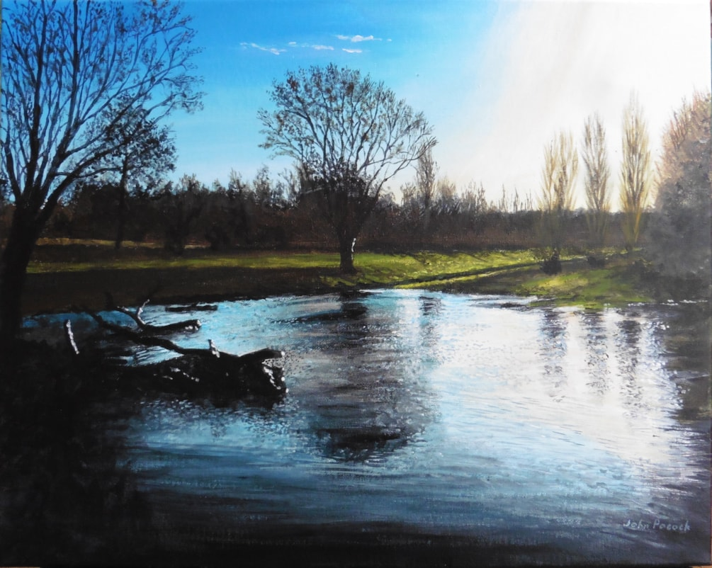 morning sun on flooded land