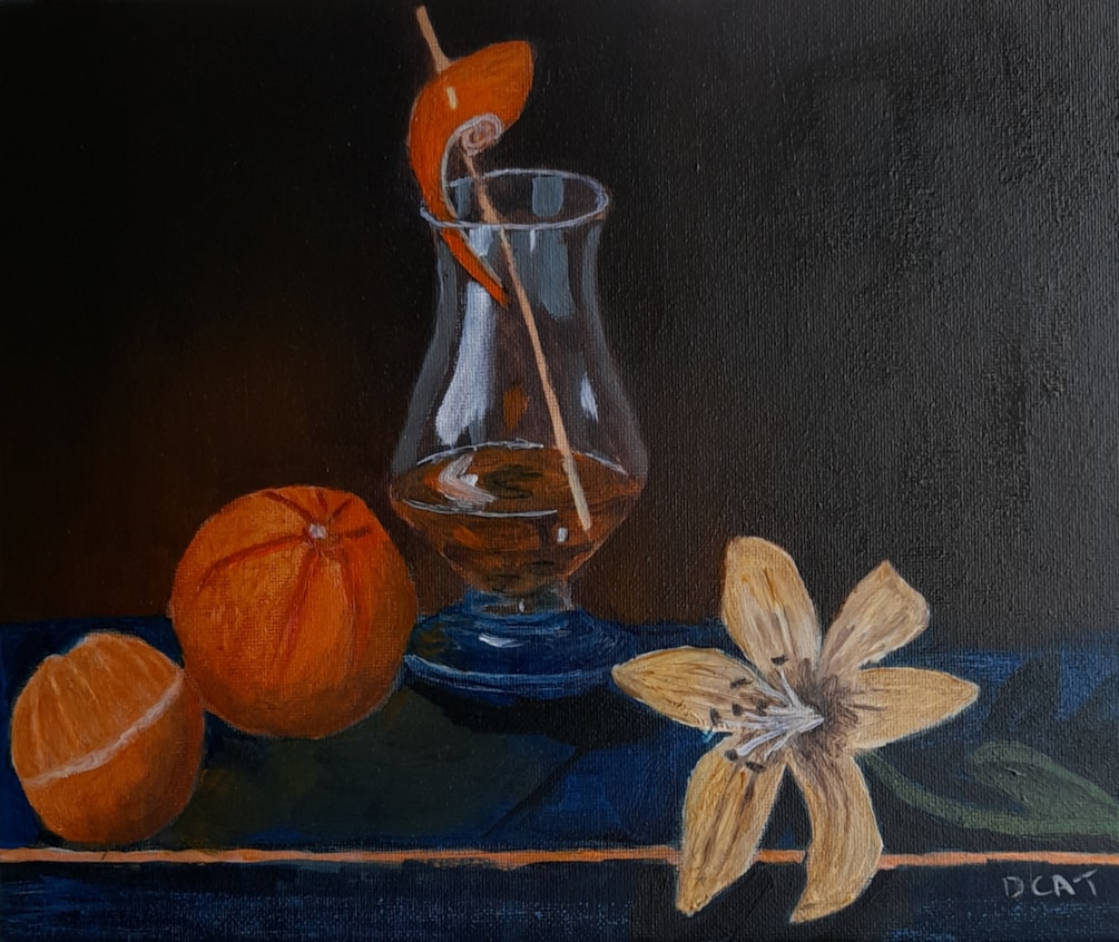 one for the road, oranges an glass