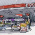 petrol station at night