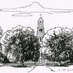 thoresby hall ink drawing