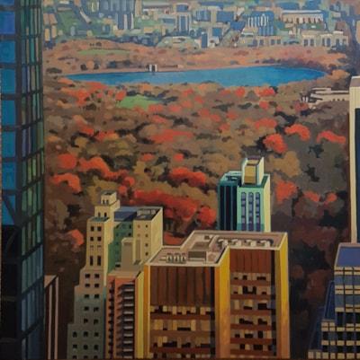 A Halliday - Autumn in New York 100x100 acrylic