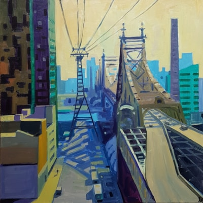 A Halliday 'At the Queensboro' Bridge' 70x70 acrylic