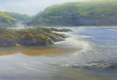 Far from Crowds, Trevaunance Cove, Cornwall 78x60cm Oil  5.0mb