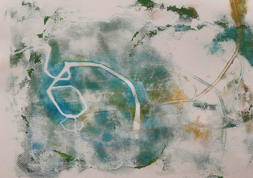 'Spiral Path' - monoprint of dune grasses